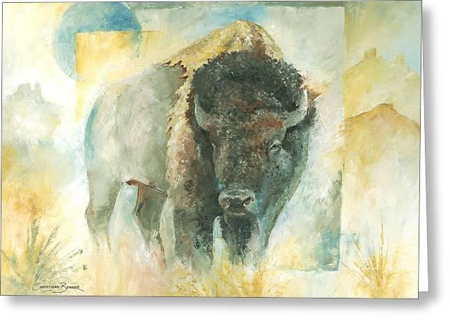 Christiaan Bekker Greeting Cards - American Bison Buffalo Bull Greeting Card by Christiaan Bekker