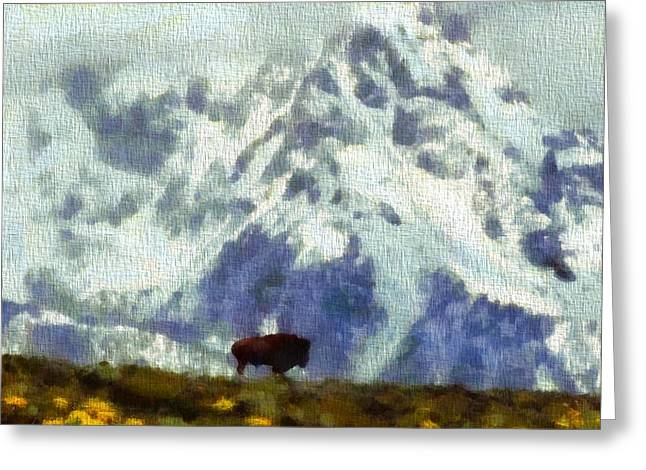 Strength Paintings Greeting Cards - American Bison In The Tetons  Greeting Card by Dan Sproul