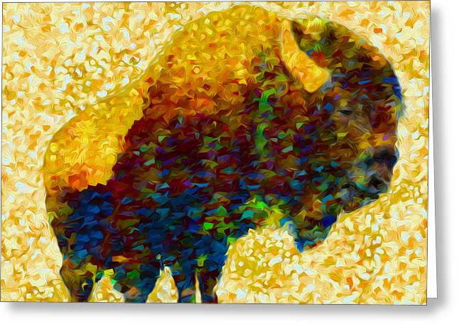 American Food Greeting Cards - American Bison Greeting Card by Jack Zulli