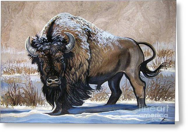 Amate Bark Paper Greeting Cards - American Bison Winter Greeting Card by Anne Shoemaker-Magdaleno