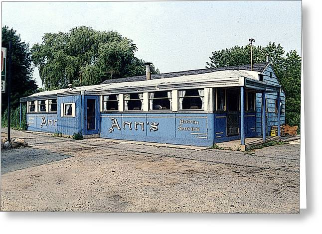 7up Sign Greeting Cards - American Blue Diner II Poster Look Greeting Card by Sally Rockefeller
