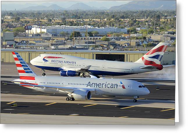 American Airways Greeting Cards - American Boeing 787-823 N801AC and British Airways 747-436 G-BNLX Phoenix Sky Harbor March 10 2015 Greeting Card by Brian Lockett