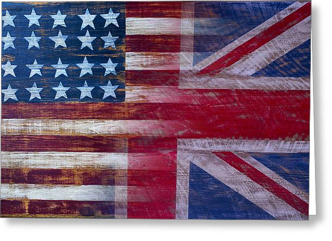 Wooden Greeting Cards - American British Flag Greeting Card by Garry Gay