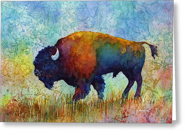 Bison Paintings Greeting Cards - American Buffalo 5 Greeting Card by Hailey E Herrera