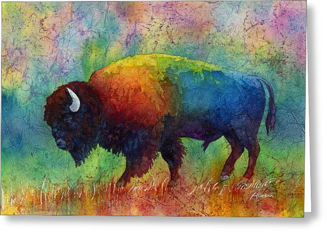 American Bison Greeting Cards - American Buffalo 6 Greeting Card by Hailey E Herrera
