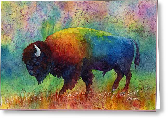 Bison Paintings Greeting Cards - American Buffalo 6 Greeting Card by Hailey E Herrera