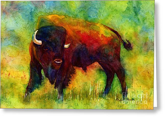 Bison Paintings Greeting Cards - American Buffalo Greeting Card by Hailey E Herrera