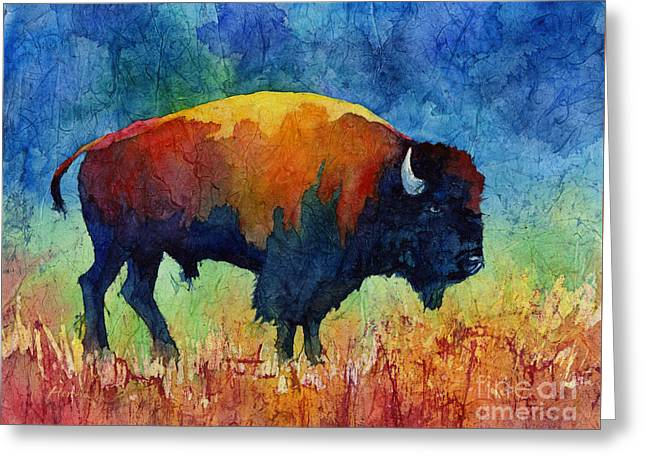 Colorful Southwest Greeting Cards - American Buffalo II Greeting Card by Hailey E Herrera