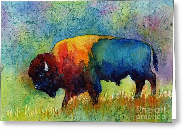Western Abstract Greeting Cards - American Buffalo III Greeting Card by Hailey E Herrera