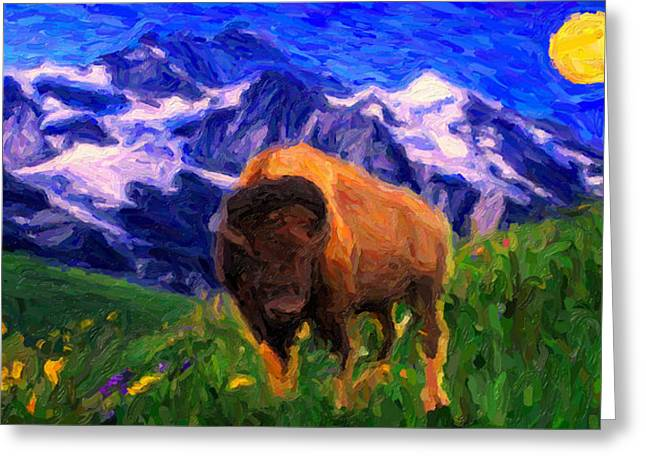 Bison Drawings Greeting Cards - American Buffalo in the Wild West Greeting Card by Celestial Images