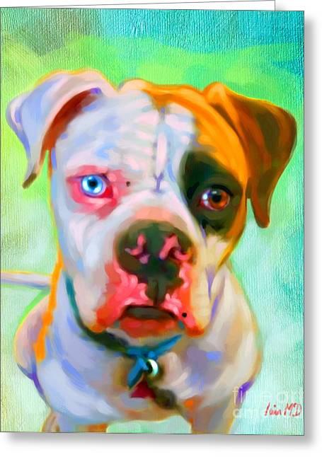 Buy Dog Prints Digital Greeting Cards - American Bulldog Art Greeting Card by Iain McDonald