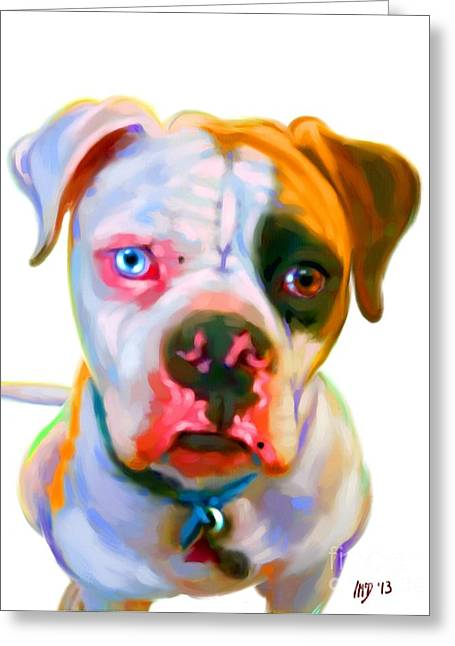 Bulldog Puppies Pictures Greeting Cards - American Bulldog Painting Greeting Card by Iain McDonald
