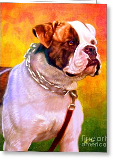 Bulldog Puppies Pictures Greeting Cards - American Bulldog Pet Art Greeting Card by Iain McDonald