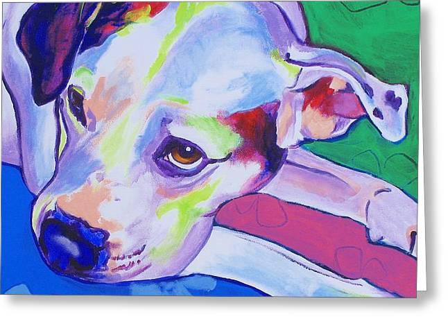 Dawgart Greeting Cards - American Bulldog - Raja Greeting Card by Alicia VanNoy Call