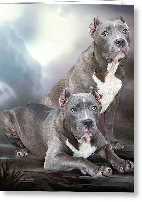 Dog Prints Mixed Media Greeting Cards - American Bully Greeting Card by Carol Cavalaris