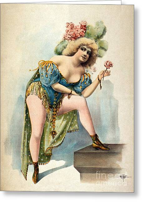 Low-cut Dress Greeting Cards - American Burlesque Costume 1899 Greeting Card by Photo Researchers