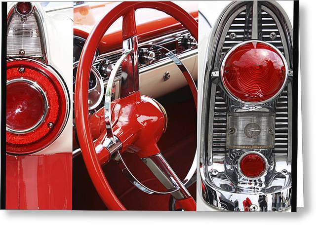Steering Mixed Media Greeting Cards - American Car Metal Collage Greeting Card by AdSpice Studios