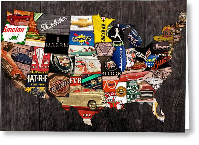 Automotive History Greeting Cards - American Car State Map An Automotive History Love Affair USA Greeting Card by Design Turnpike