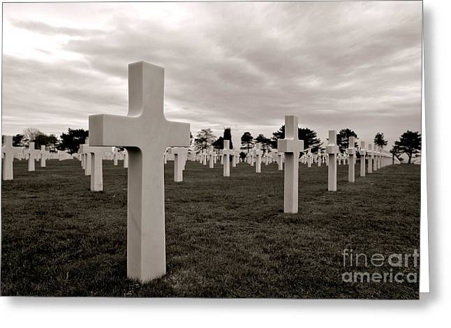 Historic Sites Greeting Cards - American Cemetery in Normandy  Greeting Card by Olivier Le Queinec
