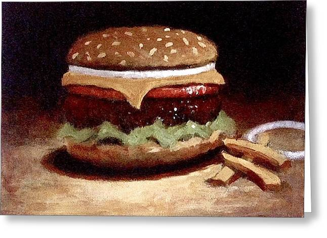Cheeseburger Paintings Greeting Cards - American Cheeseburger Greeting Card by William McLane
