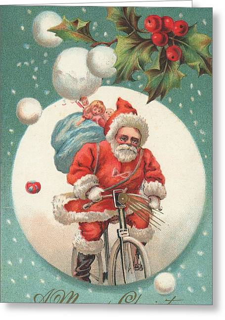 Cards Vintage Paintings Greeting Cards - American Christmas card with a cycling Father Christmas with his sack of gifts Greeting Card by American School
