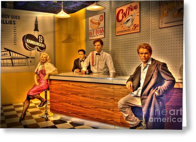 Old Diner Bar Stools Greeting Cards - American Cinema Icons - 5 and Diner Greeting Card by Dan Stone