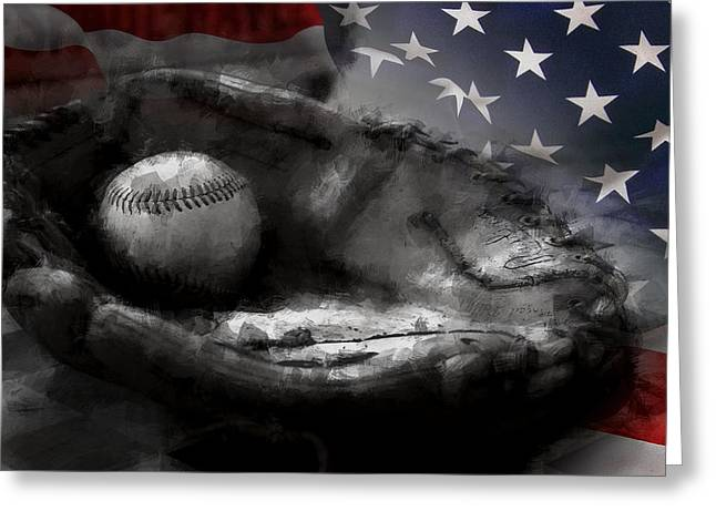 Baseball Equipment Greeting Cards - American Classic Greeting Card by Daniel Hagerman
