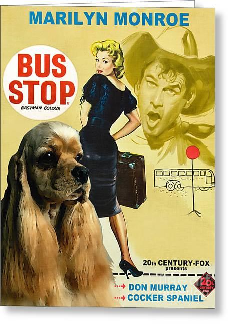 Dog Prints Greeting Cards - American Cocker Spaniel Art - Bus Stop Movie Poster Greeting Card by Sandra Sij