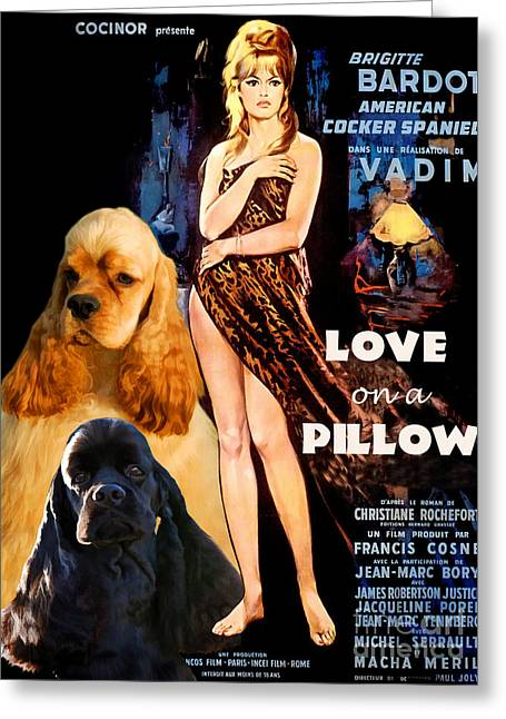 Lovers Art On Print Greeting Cards - American Cocker Spaniel  Art - Love on a Pillow Movie Poster Greeting Card by Sandra Sij