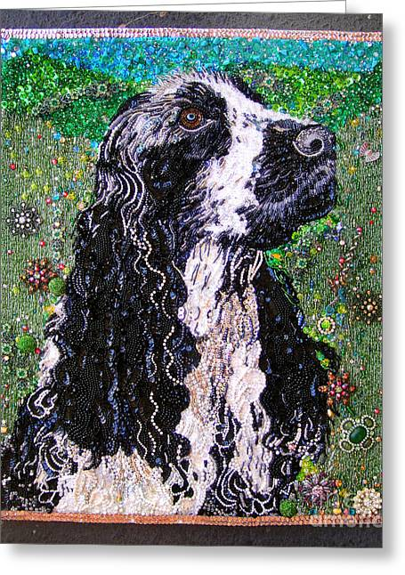 Landmarks Jewelry Greeting Cards - American cocker spaniel Beadwork bead embroidery Greeting Card by Sofia Metal Queen