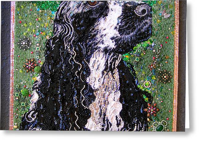 Cute Jewelry Greeting Cards - American cocker spaniel Beadwork bead embroidery Greeting Card by Sofia Metal Queen
