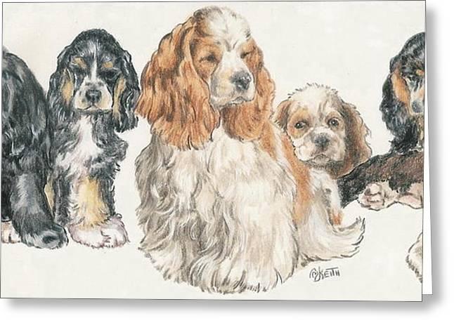 Spaniel Mixed Media Greeting Cards - American Cocker Spaniel Puppies Greeting Card by Barbara Keith