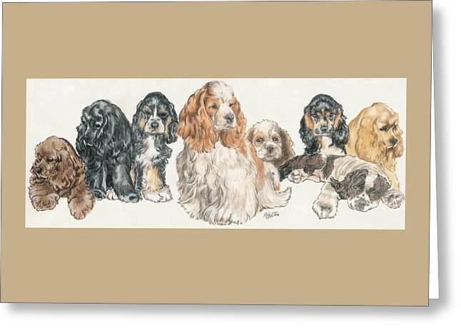American Cocker Spaniel Puppies Greeting Card by Barbara Keith