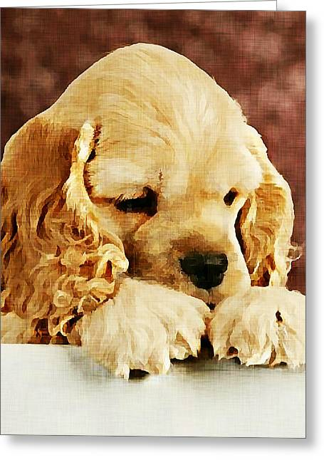 Dogs Digital Greeting Cards - American Cocker Spaniel Puppy Greeting Card by Linda Zielinski