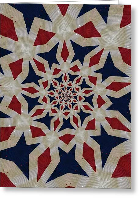 White Cloth Greeting Cards - American Colors on African Fabric Greeting Card by Linda Cousins-Newton