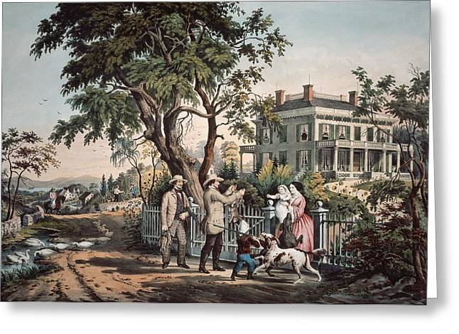 Porch Greeting Cards - American Country Life - October Afternoon, 1855 Litho Greeting Card by N. Currier