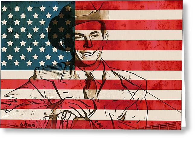 Red White And Blue Mixed Media Greeting Cards - American Country Singer Hank Williams Greeting Card by Dan Sproul