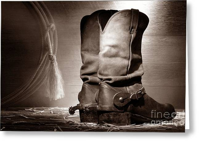 Black Boots Greeting Cards - American Cowboy Boots Greeting Card by American West Legend By Olivier Le Queinec