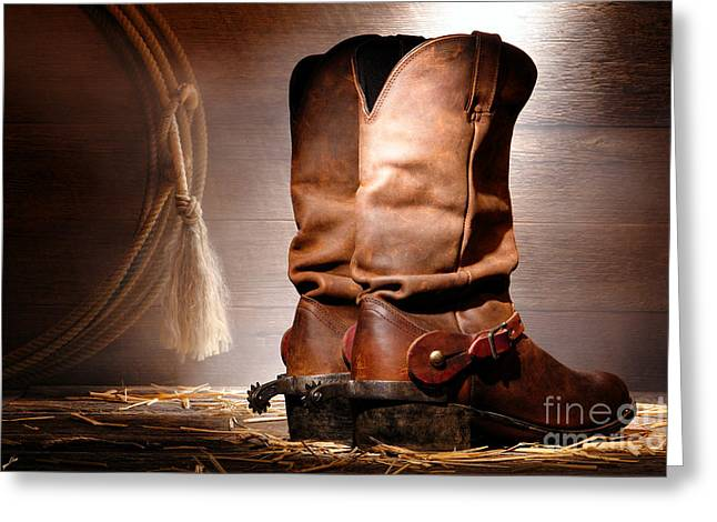 Haze Greeting Cards - American Cowboy Boots Greeting Card by Olivier Le Queinec