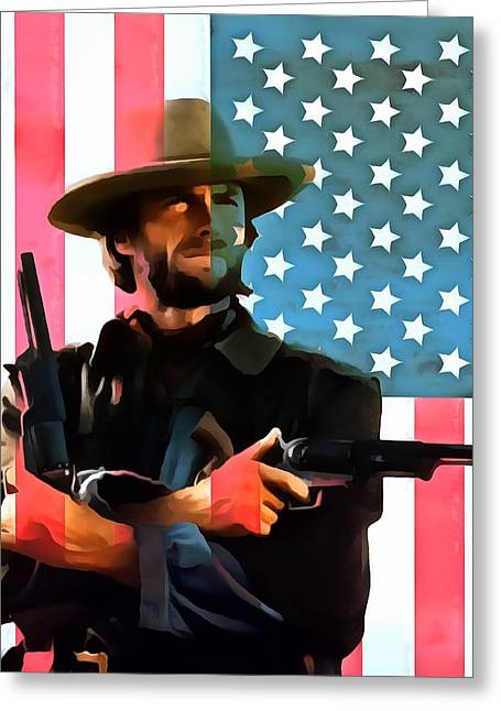 The Good The Bad Greeting Cards - American Cowboy Clint Eastwood Greeting Card by Dan Sproul
