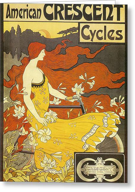 Woman In A Dress Photographs Greeting Cards - American Crescent Cycles 1899 Greeting Card by Frederick Winthrop Ramsdell