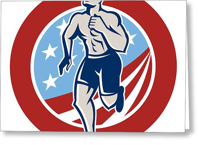 American Crossfit Runner Running Retro Greeting Card by Aloysius Patrimonio