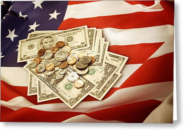Profit Greeting Cards - American currency  Greeting Card by Les Cunliffe