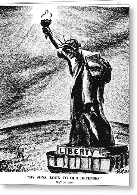 Dictatorships Greeting Cards - American Defenses, 1940 Greeting Card by Granger