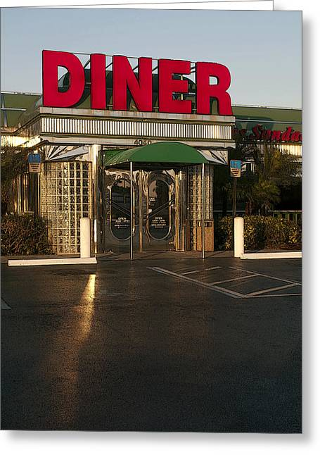 Stainless Steel Greeting Cards - American Diner at Sunset II Poster Look Greeting Card by Sally Rockefeller