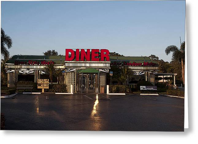 Purple Awnings Greeting Cards - American Diner at Sunset VI Poster Look Greeting Card by Sally Rockefeller