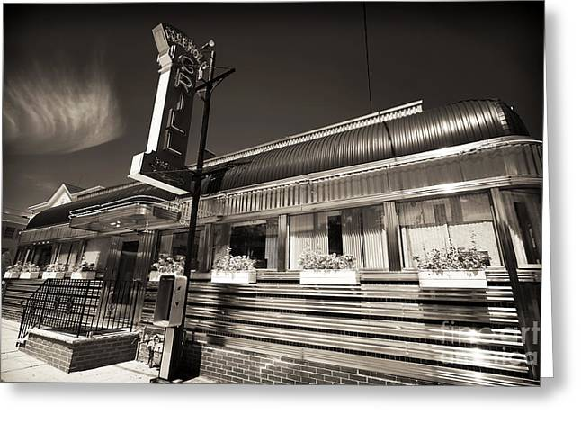 Stainless Steel Greeting Cards - American Diner Greeting Card by John Rizzuto