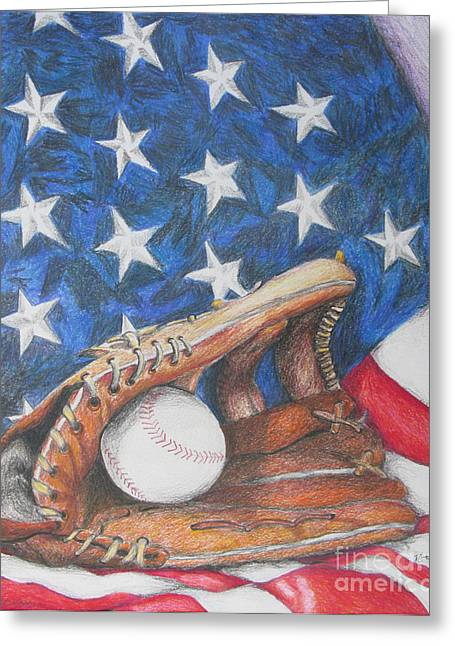 Baseball Glove Greeting Cards - American Dream Greeting Card by Rob Monte
