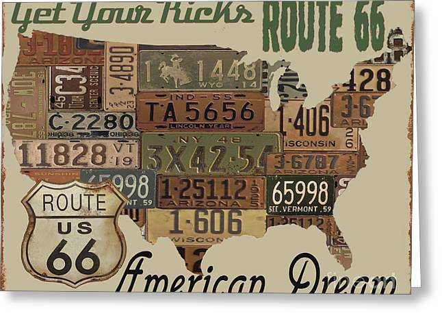 Old Signage Greeting Cards - American Dream-Route 66-2 Greeting Card by Jean Plout