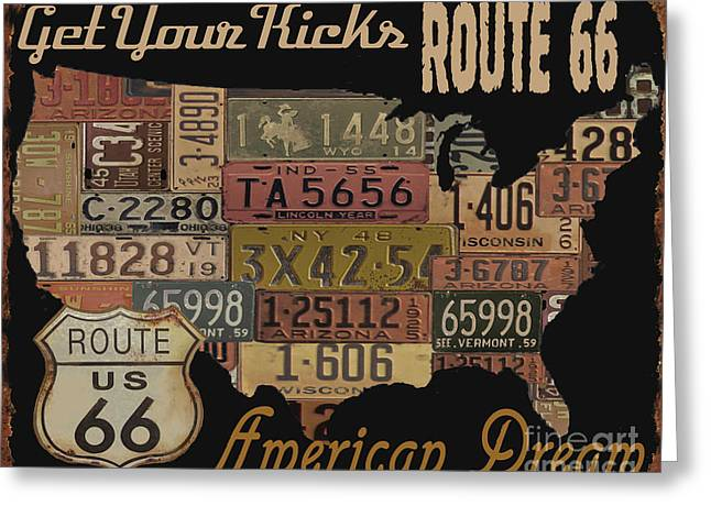Old Signage Greeting Cards - American Dream-Route 66 Greeting Card by Jean Plout